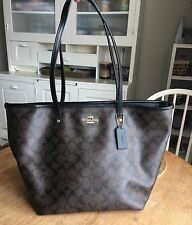 Coach Brown/Black Signature Zip Street Taxi Tote Bag Purse F34104