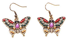 Enchanting Multi- Colour Beads/intricate Golden Grill Butterfly Earrings(Ns17)