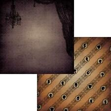 2 12x12 HAUNTED MANSION House Paper HALLOWEEN Scrapbooking Kids Crafts Moxxie