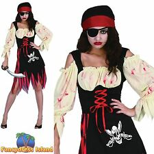 HALLOWEEN ZOMBIE PIRATE WENCH - Size 10-14 - womens ladies fancy dress costume