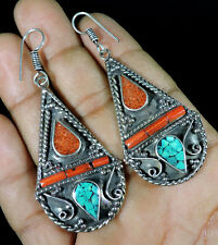 TURQUOISE&CORAL,CORAL GEMSTONE .925 TIBETAN SILVER ANTIQUE JEWELRY EARRINGS S,T
