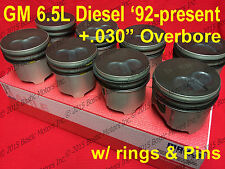 6.5 6.5L Diesel Pistons +.030 1992-02 MAHLE Coated (set of 8) GM Chevy w/ Rings