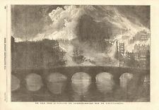1854 ANTIQUE PRINT- GREAT FIRE AT NEWCASTLE & GATESHEAD FROM THE HIGH LEVEL BRID