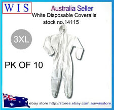 10 xWht Disposable Protective Clothing,Disposable Coveralls,Waterproof,3XL-14115