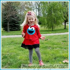 BonEful RTS NEW Boutique Girl 3 Sesame Street Cookie Monster Top Dress Bow Socks