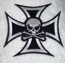 Skull on Iron Cross Patch Motorcycle Patch Biker Patch