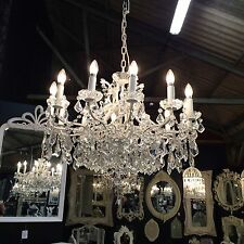 Shop/Commercial Big Antique White 12 Branch Shallow Chandelier Glass Crystals.