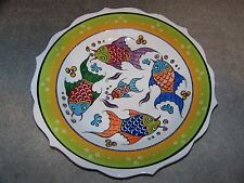 "CLEARANCE Hand-painted Fish Pattern 12"" (30cm) Turkish Ceramic Plate"