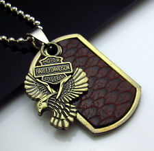 TOP Men's Cowhide Bronzed Stainless Steel Punk Rock Eagle Pendant Necklace Chain