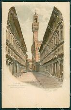 Firenze Città Uffizi Palazzo Vecchio PIEGATA STRAPPO E:Bensa cartolina XB2163