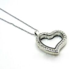 30mm Alloy Silver Glass Floating Heart Shape Charm Memory Locket include Chain
