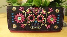 NWT Loungefly Denim/Faux Leather Bright Sugar Skull Trifold Embroidered Wallet