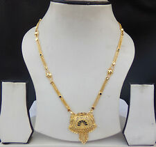 Indian American Gold Plated Chain Pendant Ethnic Bridal Jewelry Mangalsutra Set