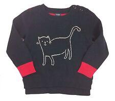 Gap Baby Girls Jumper Sweater Blue Cat Pink Striped 12-18 Months