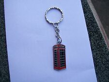 old red british telephone box enamel charm keyring