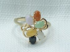 Estate 14K Yellow Gold Multi Color & Green Jade Ring From Hong Kong EA 14kt 585