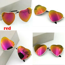 Fashion Women Men Love Heart Metal Film Reflective Sunglasses Glasses Color Red
