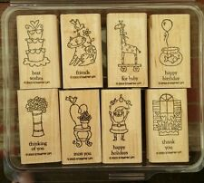 2003 Stampin' Up LITTLE HELLOS Set 8 Wood Mounted Rubber Stamps Lot Occasions