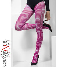 Pink Marble Pattern Tights 60s Hippie Womens Fancy Dress Costume Accessory New
