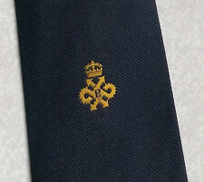 QUEEN'S AWARD EXPORT LOGO TIE VINTAGE RETRO 1970s 1980s NAVY GOLD BY TOOTAL CLUB