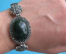 Bracciale con cabochion ovale nero verde petrolio etnico  - Bijoux