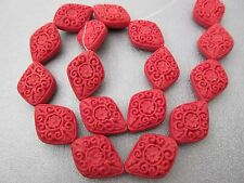 Carved Red Cinnabar Beads 16pcs