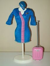 Barbie Doll Clothes Flight Attendant Blue Dress Cap Silver Flying Pin Luggage