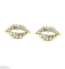 Girls & Lady 10mm Kissing Lips Gold Plated with Clear Crystal Earrings