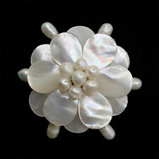 g1471 Mother of Pearl MOP Shell pearl flower pin brooch pendant 2""