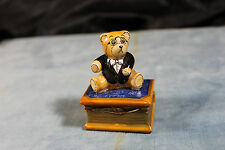 PEINT MAIN LIMOGES FRANCE MARQUE DEPOSSE MATH BEAR PORCELAIN TRINKET BOX 2 12""