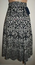 New Cotton Wrap Skirt 8 10 12 14 Hippy Ethnic India Calf Length Hippie Elephant