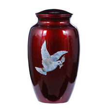 "Mother of Pearl inlay ""Dove"" Cremation Urn,Adult ,Metal Funeral urn, Brand New"