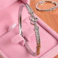 Women Lady Crystal Rhinestone Heart Bangle Silver Plated Bracelet Jewelry Gift