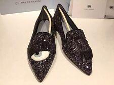 Brand New Chiara Ferragni Flirting Glitter Slippers In Black
