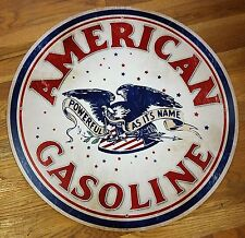 "AMERICAN GASOLINE AS POWERFUL AS ITS NAME EAGLE RED WHITE BLUE 28"" ADV GAS SIGN"