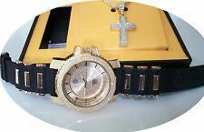 Gold Finish CROSS Iced Out Techno Pave Watch/Chain Charm Combo with Box