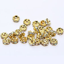20pcs Plated gold crystal spacer beads Charms Findings 8mm FREE SHIPPING #81