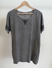 Next ladies top size 14, grey with french sequins, 100% cotton