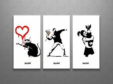 Banksy Love Rat, Flower, Bomb Hugger Stretched Canvas Triptych Print. BONUS!!!
