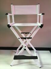 WHITE - Portable Makeup director tall chair, make up/hair stylist, easy travel