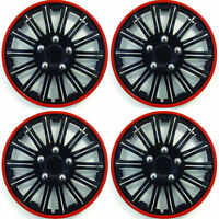 """SET OF 4 x 14 INCH RED AND BLACK SPORTS WHEEL TRIMS COVER HUB CAPS 14"""""""