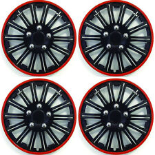 SET OF 4 x 14 INCH RED AND BLACK SPORTS WHEEL TRIMS COVER HUB CAPS 14""