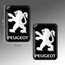 2 PEUGEOT 3D DOMED STICKERS AUTO MOTO TUNING CAR WINDOW MIRROR PLATE EMBLEM PS15