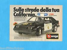 TOP985-PUBBLICITA'/ADVERTISING-1985- BURAGO - FORD MUSTANG POLICE  1:24