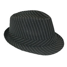 Silver Fever Stripped Panama Fedora for Men or Women Black
