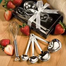 50 - Heart Design Measuring Spoon & Whisk Favor Sets - Wedding Favors
