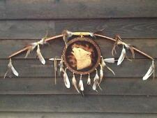 Native American Indian Bow arrow carved wood burned wolf mandala