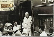 INDIA 2015 GANDHI CHARKHA MAXIM PICTURE POST CARD OLD PICTURE OF GANDHIJI