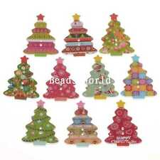 100 Pcs Mixed Christmas Tree 2 Holes Wood Sewing Buttons Scrapbooking 35x25mm