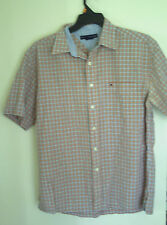 MENS TOMMY HILFIGER SHORT SLEEVE PLAID  CASUAL SHIRT   L